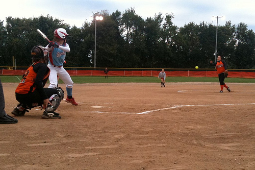 Hailey Johnson pitches to Amanda Davis, as Payton Appleberry creeps in at shortstop.  All three were All-State selections in Class 3.